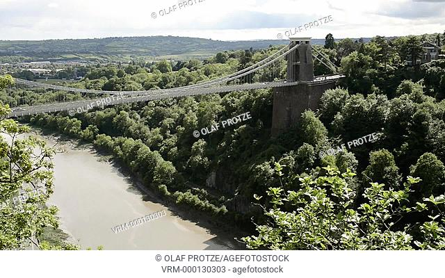 View at the Clifton Suspension Bridge and the Avon River Valley Bristol Somerset England