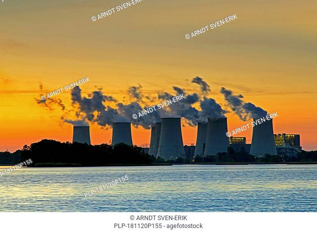 Jänschwalde / Jaenschwalde lignite-fired power station at sunset, third-largest brown coal power plant in Germany at Brandenburg, Spree-Neiße