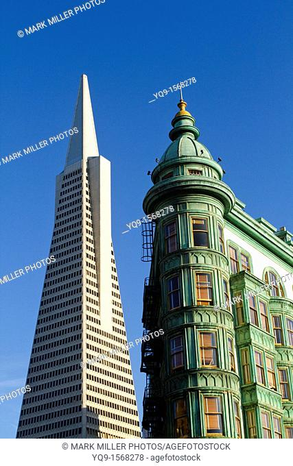 TransAmerica Building and Columbus Tower, Old and New Architecture, North Beach Landmark, San Francisco, California, USA