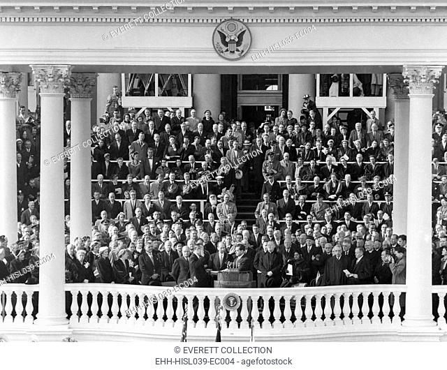 Richard Nixon sworn in as Vice President. Jan. 20, 1953. Senator William Knowland of California administered the Oath of Office. - (BSLOC-2014-16-19)