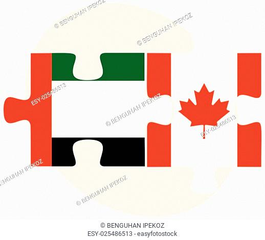 United Arab Emirates and Canada Flags in puzzle isolated on white background