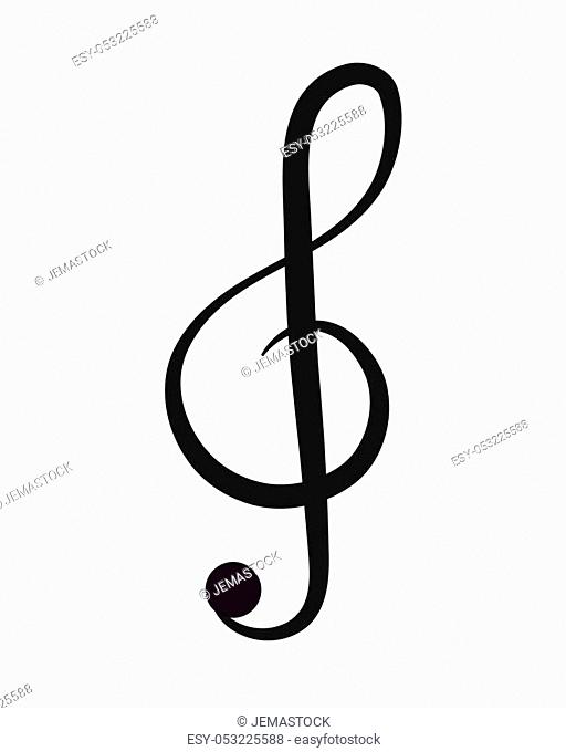 flat design g clef note icon vector illustration