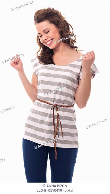Portrait of brunette woman celebrating success Debica, Poland