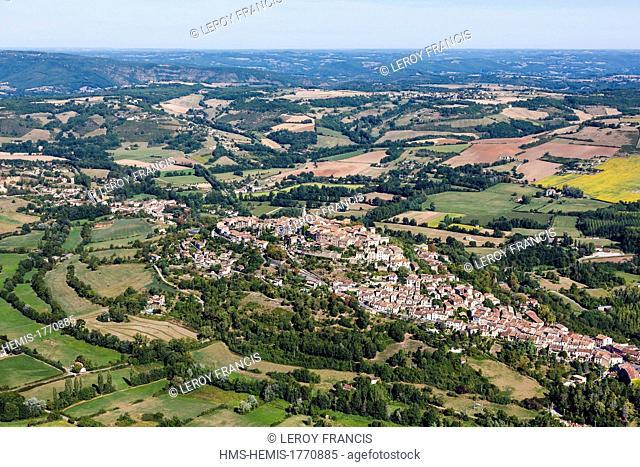 France, Tarn, Cordes sur Ciel, the village perched on the Puech de Mordagne (aerial view)