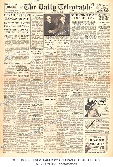 1946 Daily Telegraph front page Nazi leaders sentenced to death