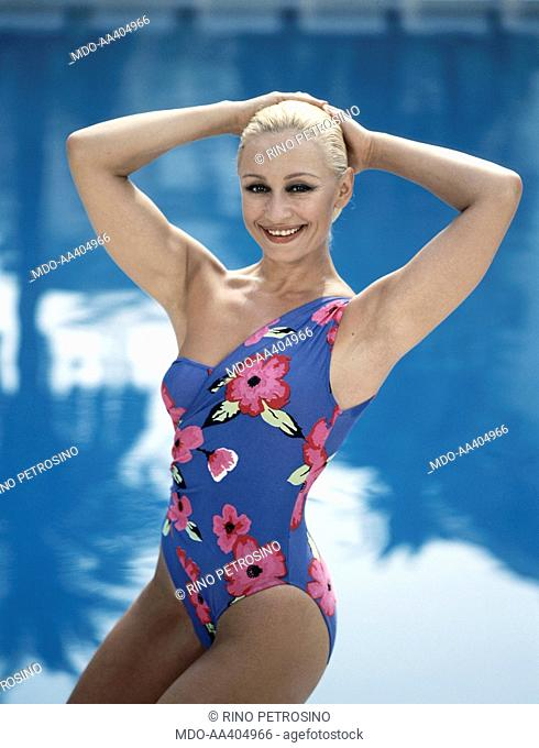 Raffaella Carrà wearing a swimsuit by Okay Brasil. Italian TV presenter, actress, singer and showgirl Raffaella Carrà (Raffaella Maria Roberta Pelloni) wearing...
