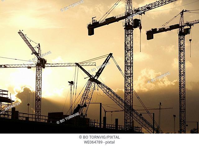 Construction site, cranes