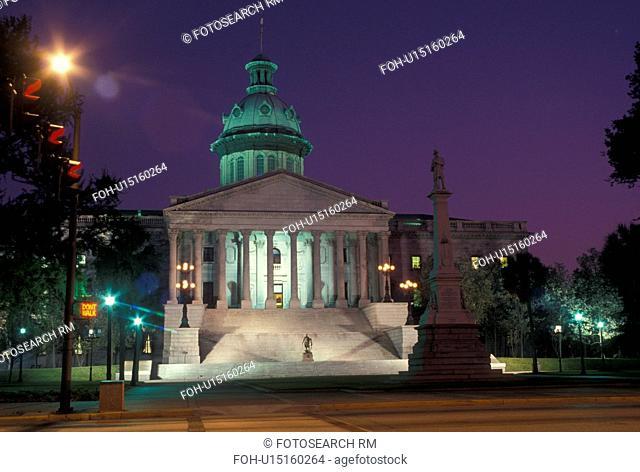 South Carolina, State House, Columbia, State Capitol, SC, The State House in the evening in the capital city of Columbia