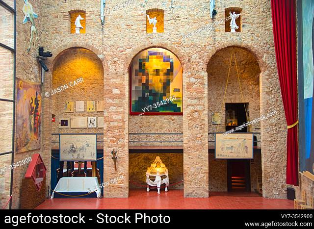 GIRONA, SPAIN - February 2, 2019: Art work at the Dali Theatre Museum is designed by the artist Salvador Dali in Figueres, Spain
