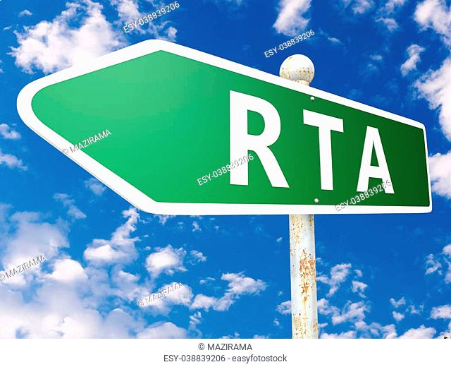 RTA - Real Time Advertising - street sign illustration in front of blue sky with clouds