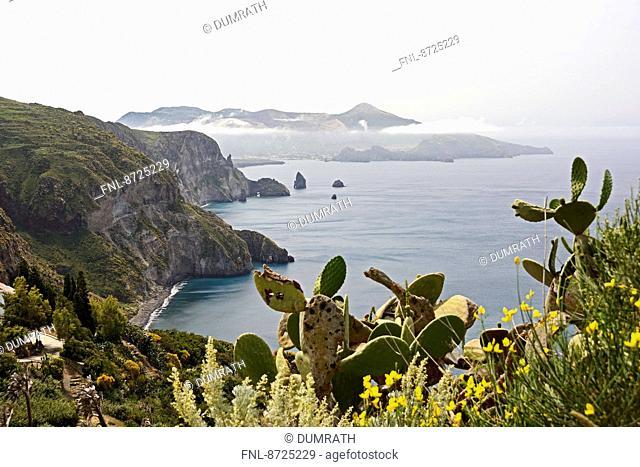 Coast of Lipari and Vulcano, Lipari Islands, Sicily, Italy, Europe