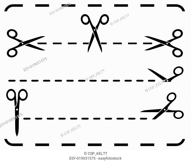 set scissors and dotted line