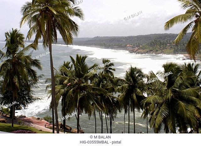 KOVALAM BEACH DURING MONSOON SEEN FROM LEELA HOTEL