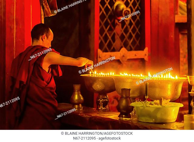 Samye Monastery, Chatang, Lhoka (Shannan) Prefecture, Tibet (Xizang), China. Samye is the first Buddhist monastery built in Tibet