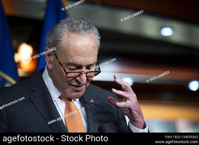 United States Senate Minority Leader Chuck Schumer (Democrat of New York), offers remarks as he is joined by Speaker of the US House of Representatives Nancy...
