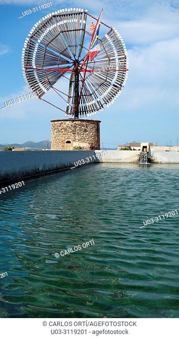 Windmill in Sa Pobla, a small village in Majorca island, Spain, Europe