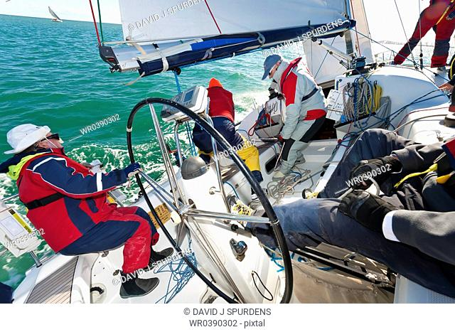 An offshore yacht racing crew