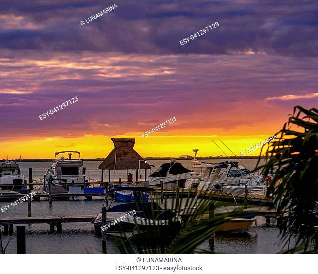 Cancun Mexico lagoon sunset marina at Hotel zone at Nichupte