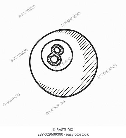 Billiard ball vector sketch icon isolated on background. Hand drawn Billiard ball icon. Billiard ball sketch icon for infographic, website or app