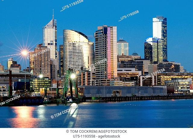 Melbourne skyline and Yarra River from West, Victoria, Australia