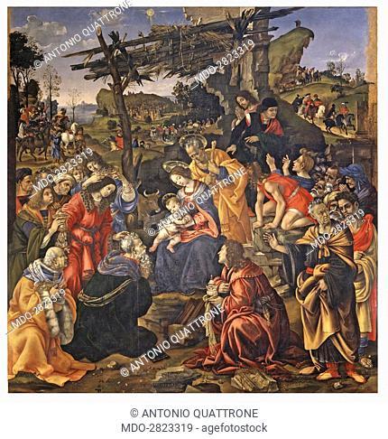 Adoration of the Magi (Adorazione dei Magi), by Filippino Lippi, 1496, 15th Century, tempera grassa on panel, 258 x 243 cm