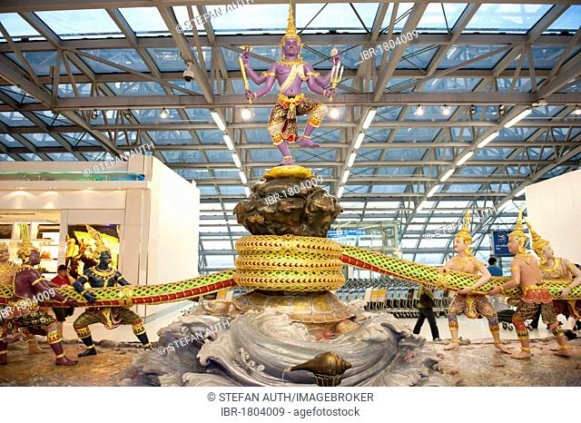 Modern group of statues, Hinduism, scene from the Ramayana epic, the churning of the milk ocean, God Shiva sitting above demons and gods, Suvarnabhumi Airport