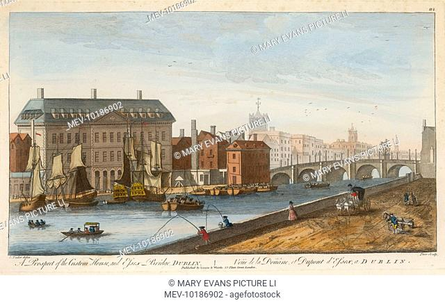 A prospect of the Custom House and Essex Bridge in Dublin. This new Custom House met with opposition from merchants who felt moving downriver would lessen their...
