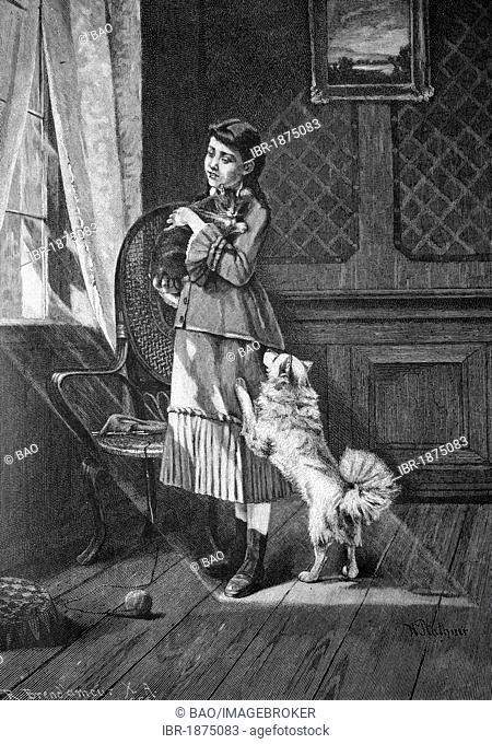 Child with pets, historical illlustration, about 1886