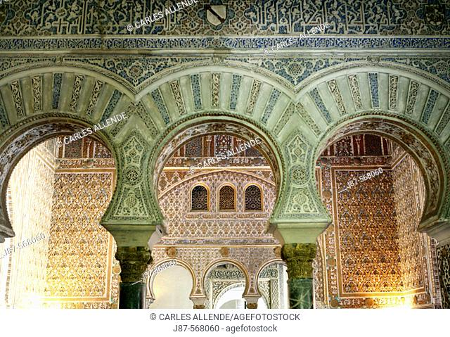 Arches in the Hall of the Ambassadors, Royal Alcazar of Seville, Andalusia, Spain