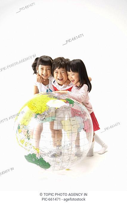 Kids Playing with the Globe,Korea