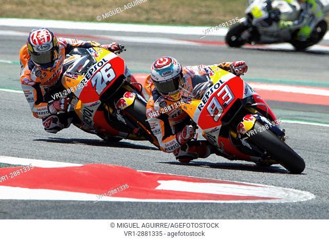 Driver Marc Marquez. Honda Team. Monster Energy Grand Prix of Catalonia MotoGP at Circuit of Catalonia. Barcelona, Spain, June 11, 2017