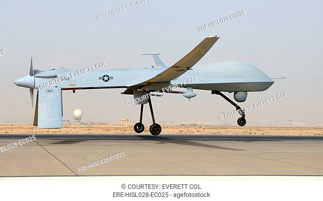 Predator drone an unmanned aircraft takes off from Balad Air Base Iraq Thursday June 12 2008. The remotely piloted aircraft conducts armed reconnaissance...