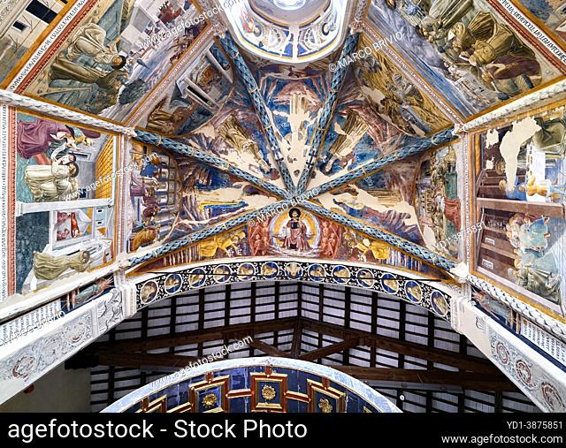 Montefalco Umbria Italy. San Francesco Church frescoed by Benozzo Gozzoli. The apse