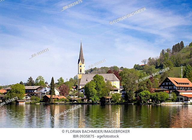 Sixtus Church, lake and houses, Schliersee, Bavaria, Germany