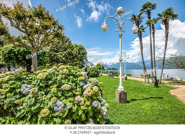 Waterfront of Stresa at Lago Maggiore, Lombardy, Italy