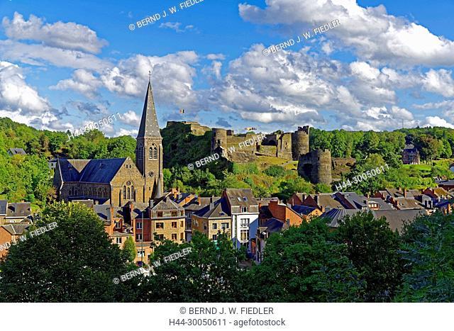 Local view, church, fortress, La Smelling Roche-en-Ardenne Belgium