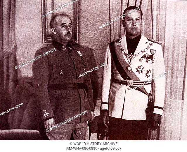 Photograph General Francisco Franco (1892-1975) and Galeazzo Ciano (1903-1944) Foreign Minister of Fascist Italy. Dated 20th Century