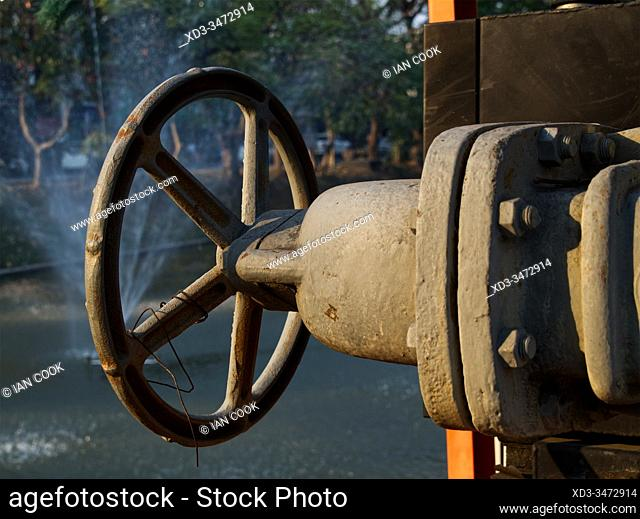 water control valve for moat, Chiang Mai, Thailand