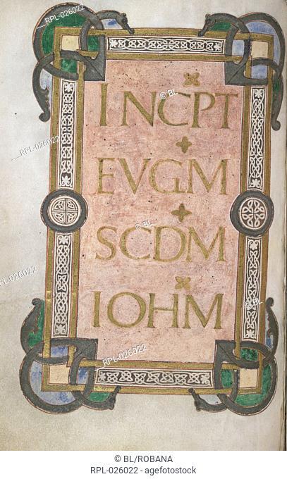 Incipit to St John's Gospel, Whole folio Incipit to the Gospel of St John. Borders with interlace pattern, and corner bosses Image taken from Gospels of St Luke...