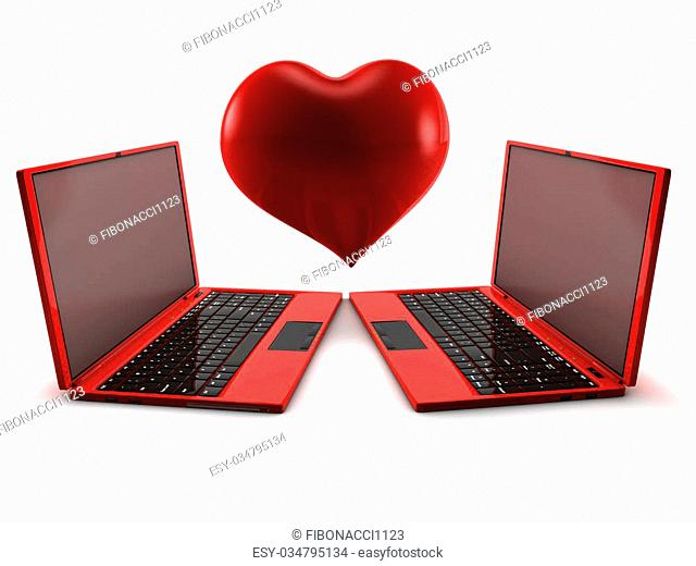 Internet Love concept. 3D render isolated on white