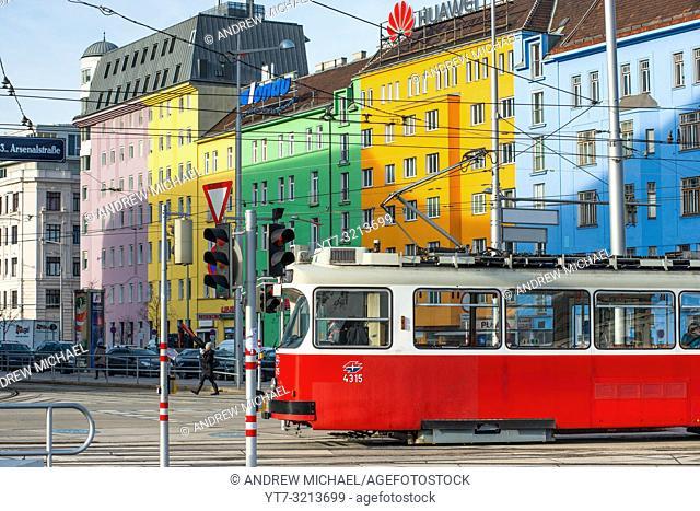 Trams on Wiedner Gürtel near Hauptbahnhof, Vienna, Austria