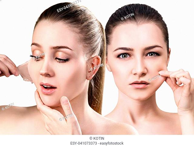 Collage of beautiful woman remove her old dry skin from face. Over white background