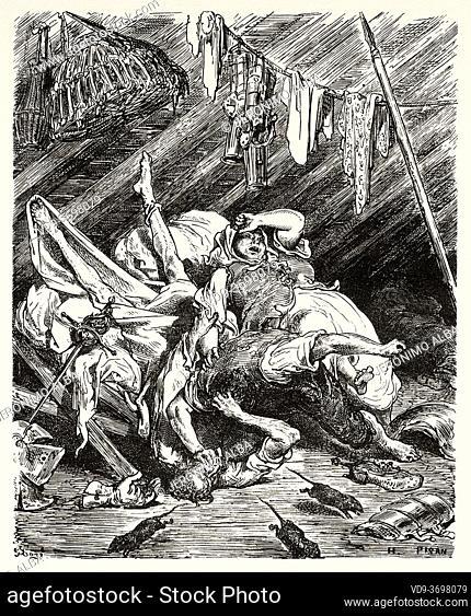 Don Quixote by Miguel de Cervantes Saavedra. Old XIX century engraving illustration by Gustave Dore