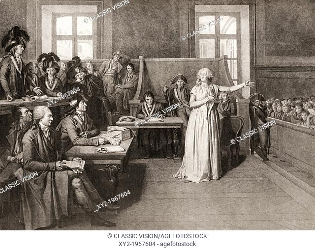 The trial of Marie-Antoinette before the French Revolutionary Tribunal, 14th October, 1793. Marie Antoinette, 1755 -  1793