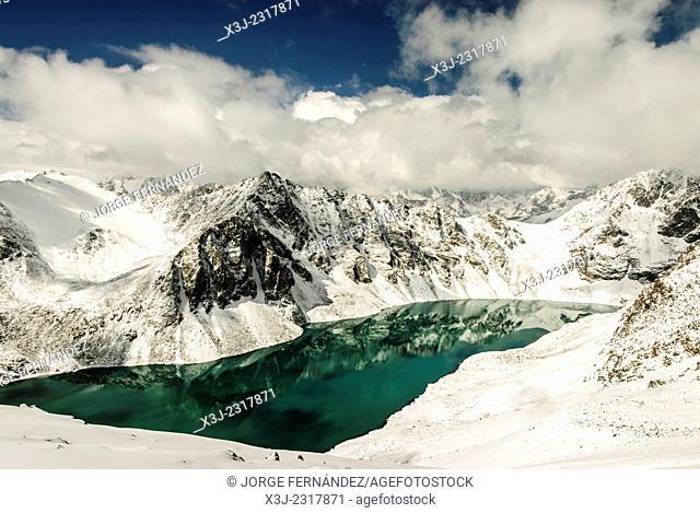 Landscape of the Ala Kol lake, Karakol valley, Kyrgyzstan