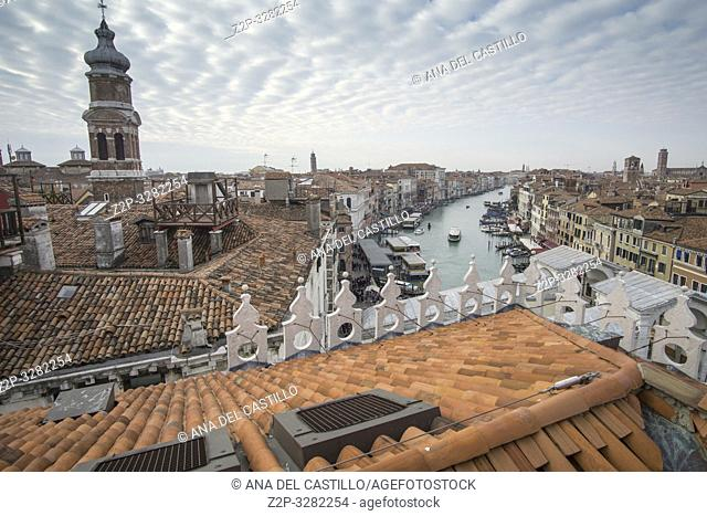 Venice Veneto Italy on January 20, 2019: Aerial view from the top of Fondaco dei Tedeschi, luxury department store terrace
