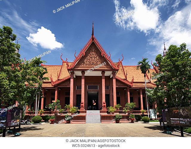 national museum landmark khmer style building exterior in phnom penh city cambodia