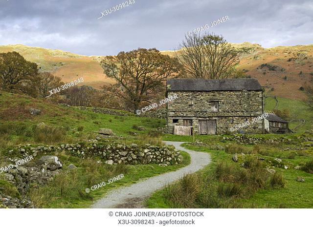 An old barn at Oak Howe in the Great Langdale valley near Chapel Stile in the Lake District National Park, Cumbria