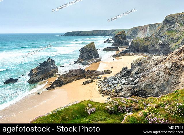 Bedruthan Steps, near Newquay, Cornwall, England, Great Britain