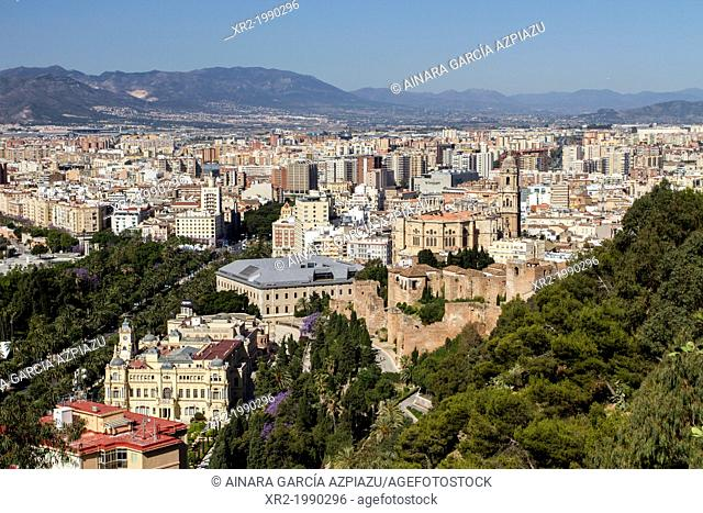Panoramic views from Gibralfaro to Malaga city, Andalucia, Spain